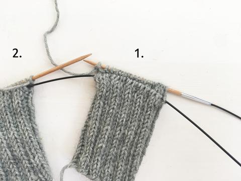 Kahdet sukat kerralla magic loop -tekniikalla