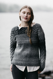 Women's sweater with cables Novita Nordic Wool Flow