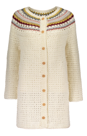 Women's crocheted cardigan Novita Wool Cotton and Nordic Wool