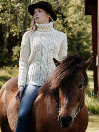 Women's lace and cable sweater Novita Natura