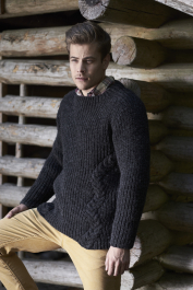 Men's cabled sweater Novita Natura