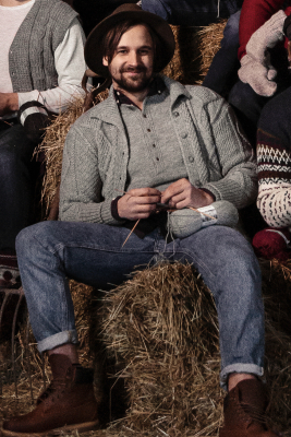 Men's cabled cardigan Novita 7 Veljestä