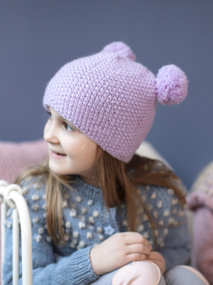 Children's hat with pompoms Novita Nalle or Novita Wool Cotton