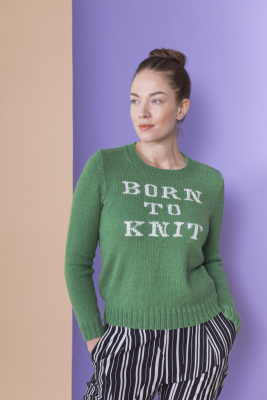 "Women's ""Born to Knit"" sweater Novita Nalle ja Baby Wool"