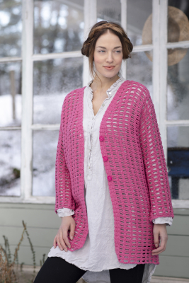 Women's crochet cardigan Novita Wool Cotton