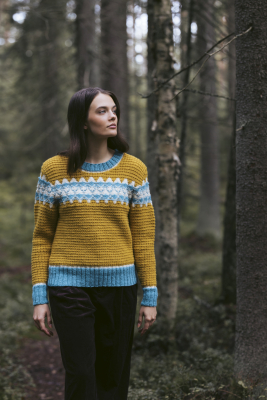 Mushroom Forest colourwork sweater Novita Nordic Wool