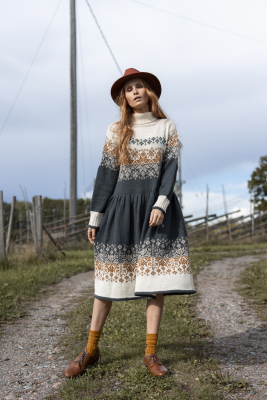 Novita Venla: Pohjantähti (North Star) colourwork dress
