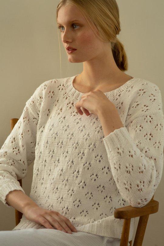 Sommaren 2019, Modell 9, Spetsstickad tröja Novita Cotton Soft