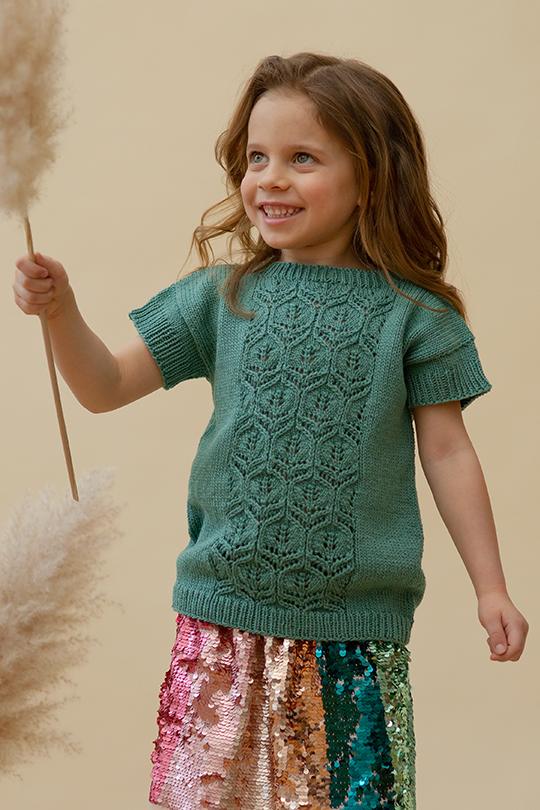Kesä 2021, Malli 47, Prinsessaleikki-neulottu t-paita Novita Woolly Wood
