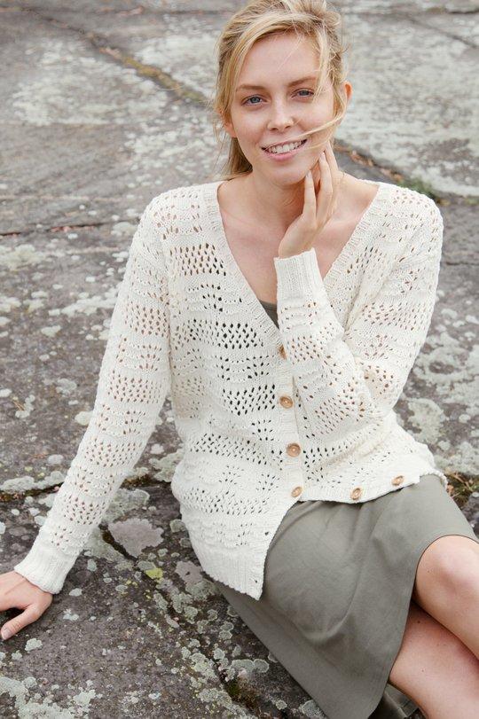 Kesä 2020, Malli 23, Aallotar-pitsineuletakki Novita Wool Cotton