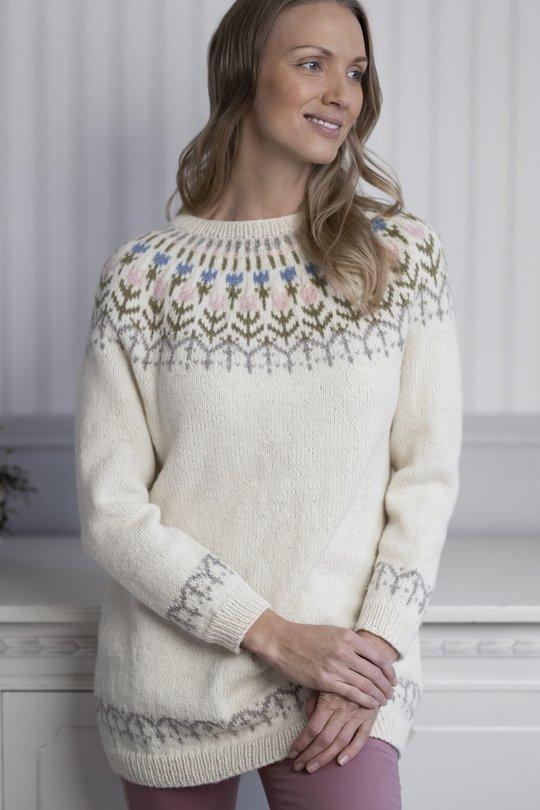 Tulppaani-kirjoneulepusero Novita Nordic Wool